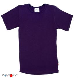 Manymonths - Short sleeve T-shirt Wol, meegroei maat - Majestic Plum