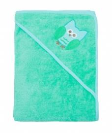 Imse Vimse - Bio baby handdoek met kapje - Turquoise met uiltje, 75 x 75 cm