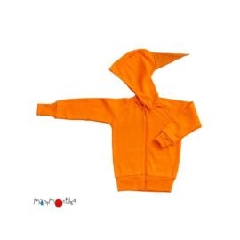 Manymonths - Point Hooded Zip Cardigan in merinowol, meegroei maat  - Festive Orange