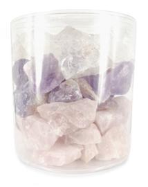 Set van Amethist, Bergkristal, Roze kwarts