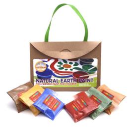 Natural Earth Paint - Kit met 6 kleuren (2 liter verf) = Multi inzetbare schilderverf: op papier, steen, hout, glas, aquarell, vingerverf, enz ...