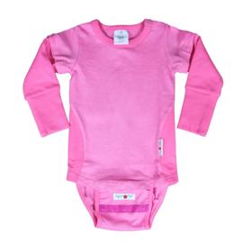 Manymonths - Body short / longsleeve met verwijderbare mouwen en onderstuk, hennep en biokatoen, meegroei maten - Pink Peony
