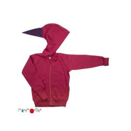 Manymonths - Point Hooded Zip Cardigan in merinowol, meegroei maat  - Frosted Berry