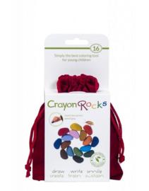 Crayon Rocks - Krijtjes in een rood fluwelen zakje - 16 stuks