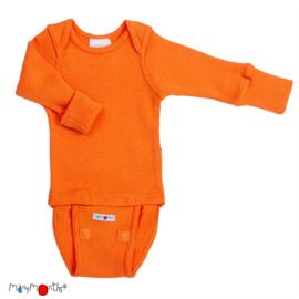Manymonths - Body shirt longsleeve wol, meegroei maat - Festive Orange