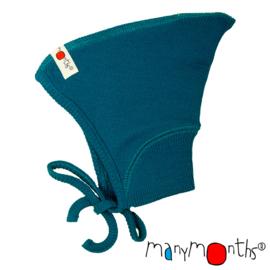 Manymonths - Pixie muts in merinowol - meegroeimaat 0 tem 6 à 9 maanden - Mykonos  Waters = LAATSTE STUK