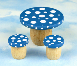Droomdeurtje Accessoire - Droomtafeltje met krukjes, bosbessenblauw