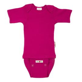 Manymonths - Body shirt shortsleeve wol - meegroei 1 tem 2,5 jaar (Adventurer) - Lilac Rose