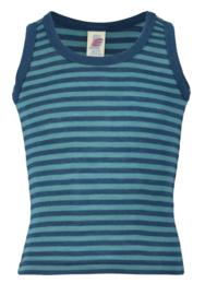 Engel Natur - Mouwloos hemd wol zijde - gestreept blauw ijsblauw, 92, 104, 152, 176