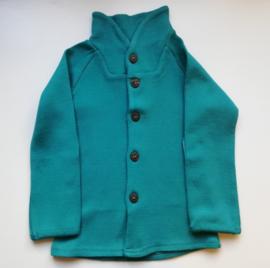 Manymonths - Unique Cardigan in merinowol, met aanpasbare mouwen, meegroei maat  - Royal Turquoise