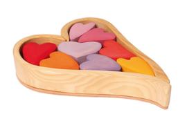 Grimm's - Bouw set hartjes rood roze - 10178