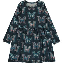 Maxomorra - Jurk met lange mouwen en zwierrokje- Butterfly, 98/104, 110/116, 122/128, 134/140