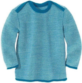 Disana - Gebreide melange trui - Lichtblauw Natuur Melange