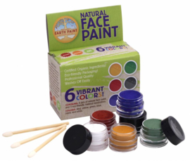 Natural Face Paint - 6 kleuren schmink en 3 applicators