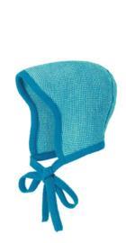 Disana - Bonnet muts in gebreide wol - Blauw Natuur melange