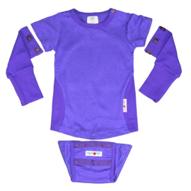 Manymonths - Body short / longsleeve met verwijderbare mouwen en onderstuk, hennep en biokatoen - Blue Purple - 62 tem 98