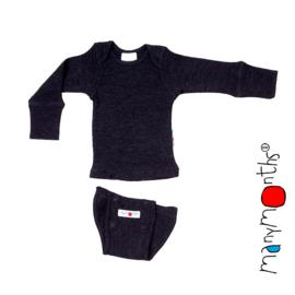 Manymonths - Body shirt en longsleeve in één, merinowol,  meegroei maat - Foggy Black