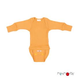 Manymonths - Body shirt en longsleeve in één, merinowol, meegroei maat - Golden Oat