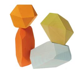 Grimm's - Bouw set Houten edelstenen gekleurd - 10053