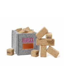 Korxx - Brickle mini kurk blokken in meeneemzak met viltbox - 17 stuks