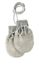 Disana - Baby wanten in gebreide wol - Grijs / Natuur melange