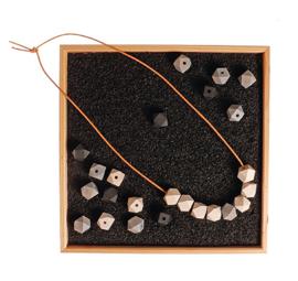 Grimm's - Houten edelstenen kralen set,  monochroom zwart wit natuur - 10305
