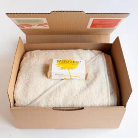 Werfzeep -  Set Baby /Kind bio badhandoek met kap en bio calendulazeep