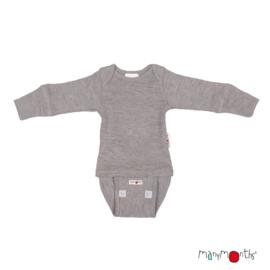 Manymonths - Body shirt en longsleeve  in één, merinowol, meegroei maat - Silver Cloud