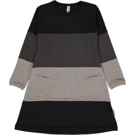 Maxomorra - Jurk met lange mouwen - Block Black, 98/104, 110/116, 134/140