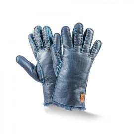 Fellhof - Vingerhandschoenen in schapenvacht en leder - Kobalt blauw