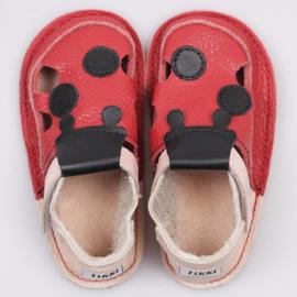 Tikki Shoes  - Barefoot Sandalen - Red ladybug in 19 = Laatste paar