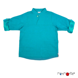 Manymonths - Mandarin Collar Shirt Longsleeve en T-shirt in één - Turquoise Lake
