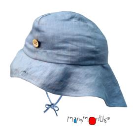 Manymonths - Zonnehoed, verstelbaar in maat 53-57 cm - Silver Blue Linnen