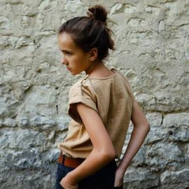 Poudre Organic - Mademoiselle T-shirt Blouse met korte mouwen - Indian Tan in 12 of in 14 jaar