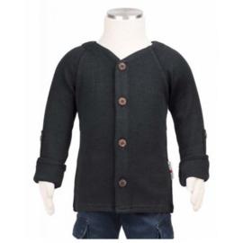 Manymonths - Cardigan in merinowol, aanpasbare mouwen, meegroei maat - Foggy Black