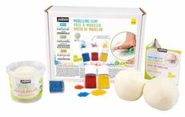 Pebeo Arteko - Set XXL blanke modeleerklei om zelf te kleuren - blanke klei 1050 gram met 3 kleuren zout