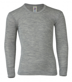 Engel Natur - Longsleeve wol zijde - Licht grijs melange in 152
