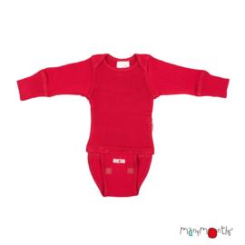Manymonths - Body shirt en longsleeve in één, merinowol, meegroei maat - Cranberry Nectar