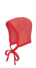 Disana - Bonnet muts in gebreide wol - Rood Roze melange