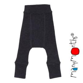 Manymonths - Longies with knee patches,  merinowol, meegroeimaat van 3 maand tem 9 a 12 maanden, Foggy Black