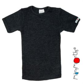 Manymonths - Short sleeve T-shirt Wol, meegroei maat 3 tem 5,5 jaar - Foggy Black