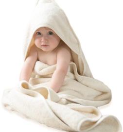 Bo Weevil - Baby / Kind handdoek met capuchon biokatoen, ecru  100 x 100 cm