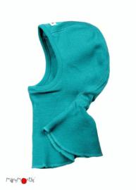 Manymonths - Elephant Hood bivakmuts in merino wol, meegroei maat - Royal Turquoise