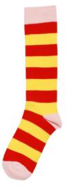 Duns - Kniekousen rood geel gestreept, roze tip, maat 18/20, 25/28, 33/36, 37/40