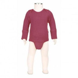 Manymonths - Body shirt en longsleeve in één, merinowol, meegroei maat - Frosted Berry