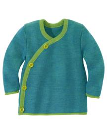 Disana - Wikkel trui in merinowol  - Groen / Blauw melange