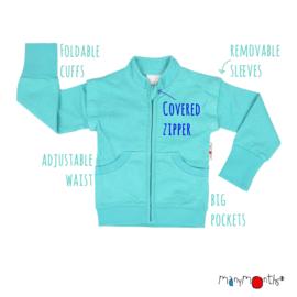 Manymonths - Zip Jacket Trui in hennep en biokatoen, verwijderbare mouwen, ideaal voor lente en zomer - meegroei maat 3 tem 5,5 jaar (Conqueror)