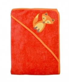 Imse Vimse - Bio baby handdoek met kapje - Oranje rood met vosje, 75 x 75 cm