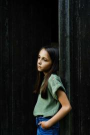 Poudre Organic - Mademoiselle T-shirt in badstof - Oil Green in maat 14 jaar
