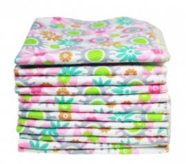 Imse Vimse - Wasbare doekjes bio katoen flanel 22x22 cm - 12 stuks - Verschillende prints Bloemen Roze of Blauw